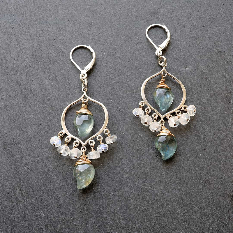 Grayson - Moss Aquamarine Moonstone Sterling Silver Chandelier Earrings alt Image | BreatheAutumnRain