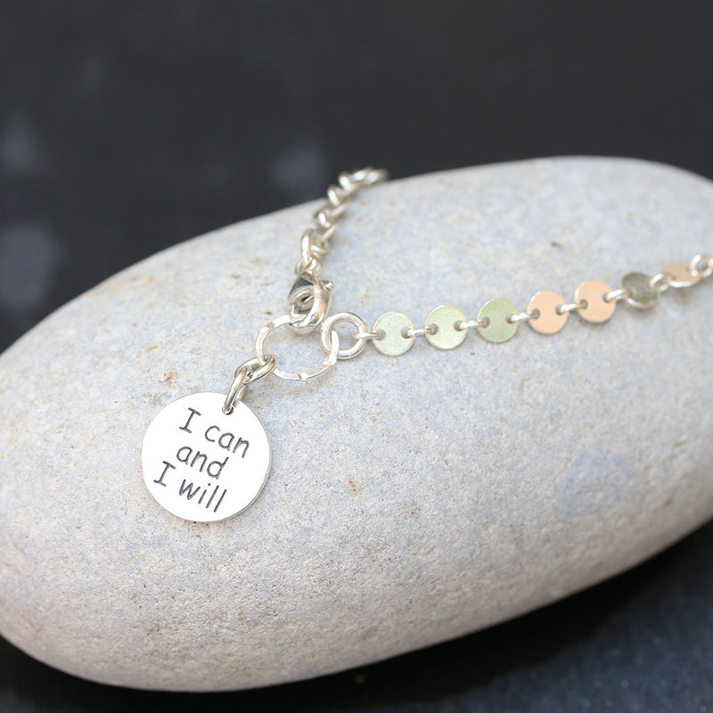 I Can and I Will -  Sterling Silver Empowerment Bracelet | BreatheAutumnRain