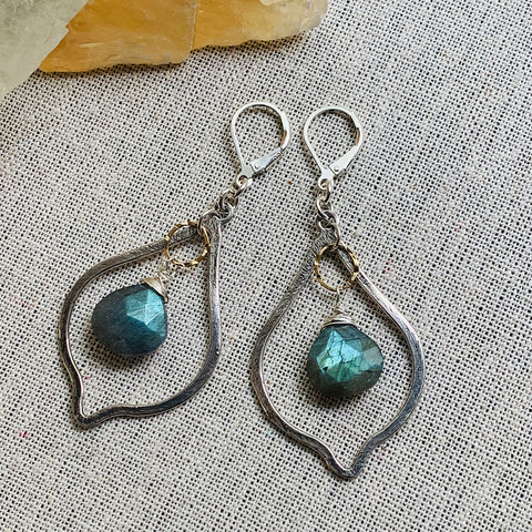 I See You - Sterling Silver Labradorite Chandelier Earrings