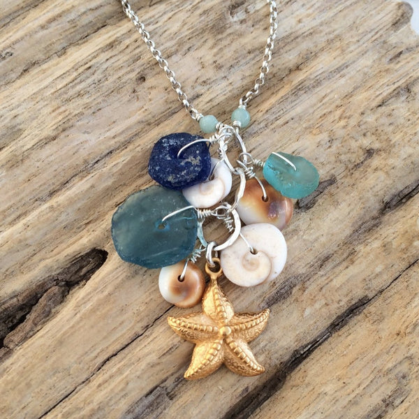 Carolina - Seaglass & Seashells Necklace | Breathe Autumn Rain Artisan Jewelry