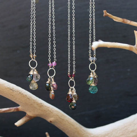In Bloom - Tourmaline Cluster Drop Necklace