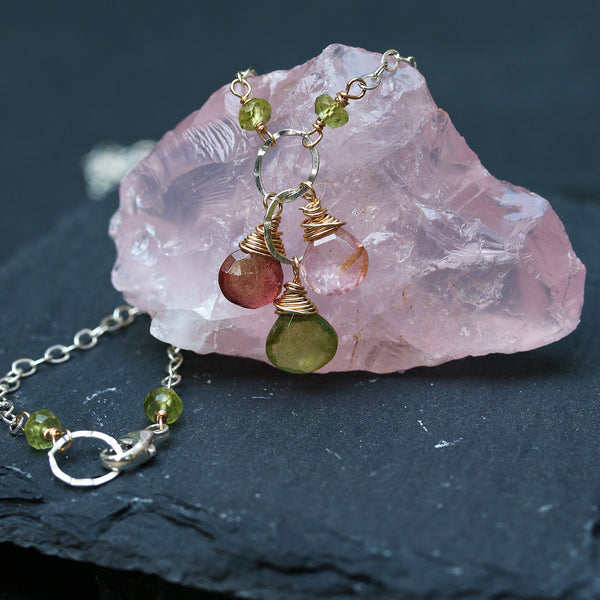 In Bloom - Tourmaline Cluster Necklace - Second Image | BreatheAutumnRain