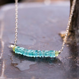 Mizu - Teal Blue Apatite Stacked Gemstone Necklace - BreatheAutumnRain
