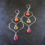 Lakshmi - Multi-Gemstone Lotus Earrings alt image | Breathe Autumn Rain