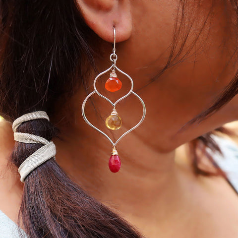 Lakshmi - Multi-Gemstone Lotus Silver Earrings