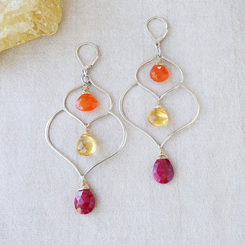 Barcelona Summer - Topaz, Ruby, and Onyx Multi-Gemstone Earrings