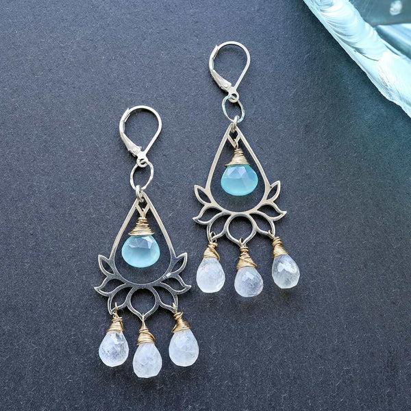 Lanai - Lotus Chalcedony and Moonstone Briolette Chandelier Earrings main image | BreatheAutumnRain