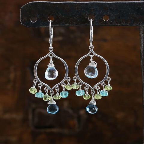 London Calling - Topaz Sterling Silver Chandelier Earrings