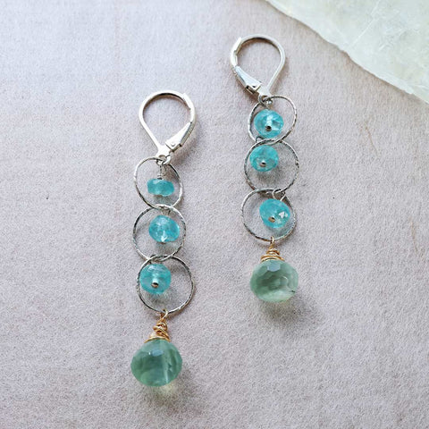 Melia - Apatite and Prehnite Sterling Silver Drop Earrings