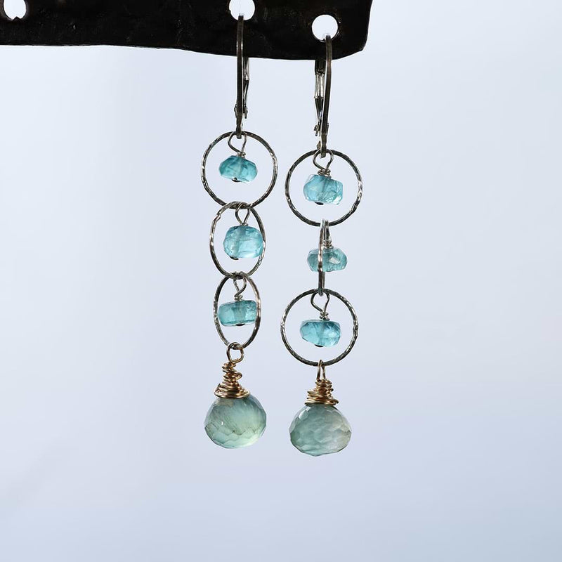 Melia - Apatite Prehnite Sterling Silver Drop Earrings main image | BreatheAutumnRain