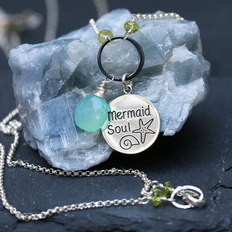 Mermaid Soul -  Seafoam Chalcedony Charm Necklace