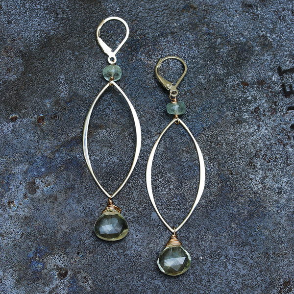 Modern Love - Prasiolite Sterling Silver Teardrop Earrings | BreatheAutumnRain