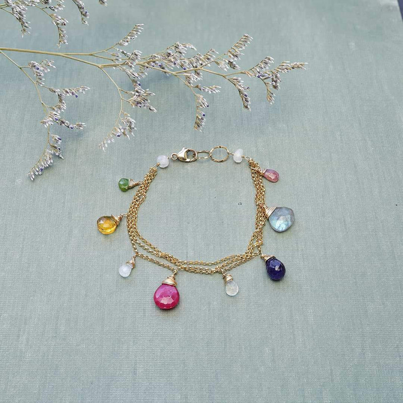 Monaco - Sapphire Multi-Gemstone Gold Bracelet alternate Image | Breathe Autumn Rain