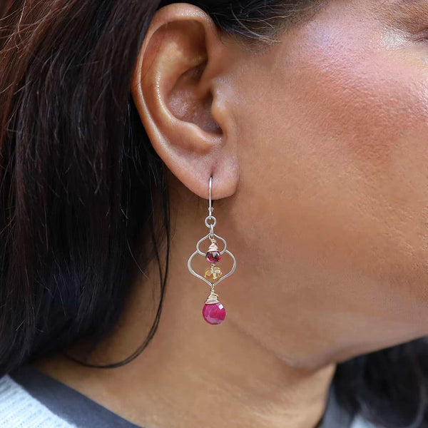 Dreaming of Bali - Ruby, Garnet, and Citrine Chandelier Earrings - life style image | Breathe Autumn Rain Artisan Jewelry