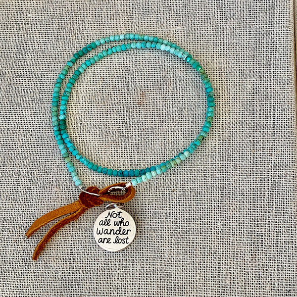 Not All Who Wander Are Lost - Turquoise Bead Double Wrap Empowerment Charm Bracelet  - Alt Image | BreatheAutumnRain