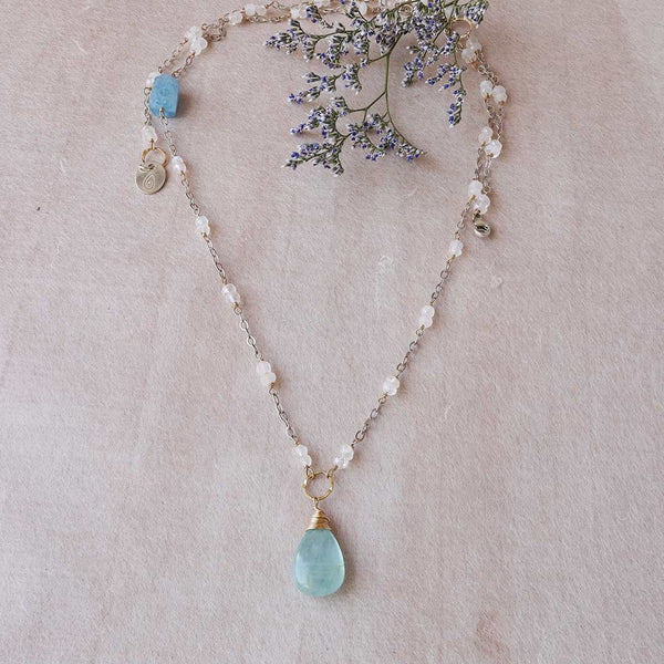 On A Clear Day - Aquamarine and Moonstone Necklace - main image | Breathe Autumn Rain Artisan Jewelry