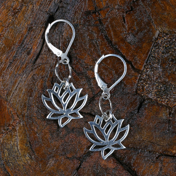 Lotus Blossom Sterling Silver Earrings Small - BreatheAutumnRain