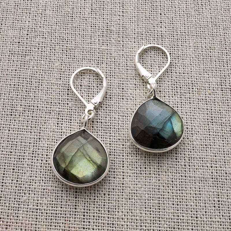 Oslo Nights - Faceted Labradorite Bezel Teardrop Earrings - alternate image | BreatheAutumnRain