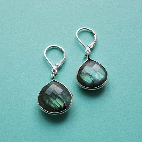 Oslo Nights - Faceted Labradorite Bezel Teardrop Earrings
