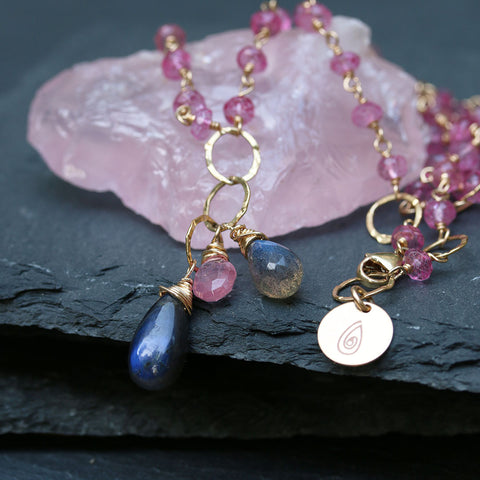 Pink Dahlia - Pink-Topaz and Blue-Labradorite 14K Gold-Filled Necklace