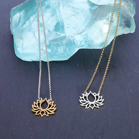 Proudest Bloom - Silver and Gold Mix Metal Lotus Necklace