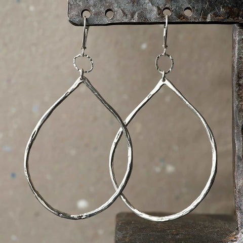 Raindrop - Hand Forged Distressed Sterling Silver Hoop Earrings
