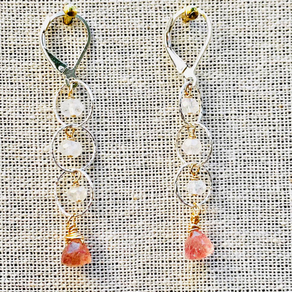 Rosebud First Snow - Cherry Quartz and Moonstone Sterling Silver Tiered Earrings - alternate Image | BreatheAutumnRain