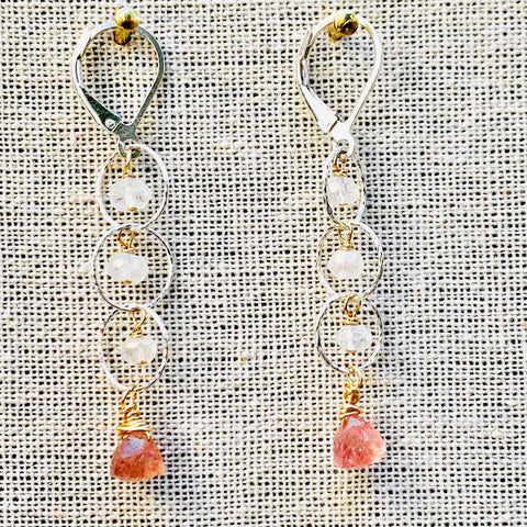 Sanur - Apatite and Topaz Lotus Chandelier Earrings
