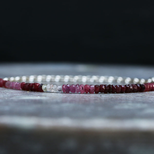 Ruby-Lou - Ombre Ruby Sterling Silver Stacking Bracelet | BreatheAutumnRain