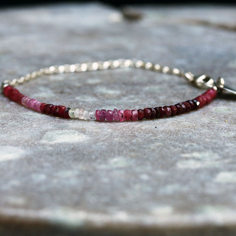 Ruby-Lou - Ombre Ruby Sterling Silver Stacking Bracelet