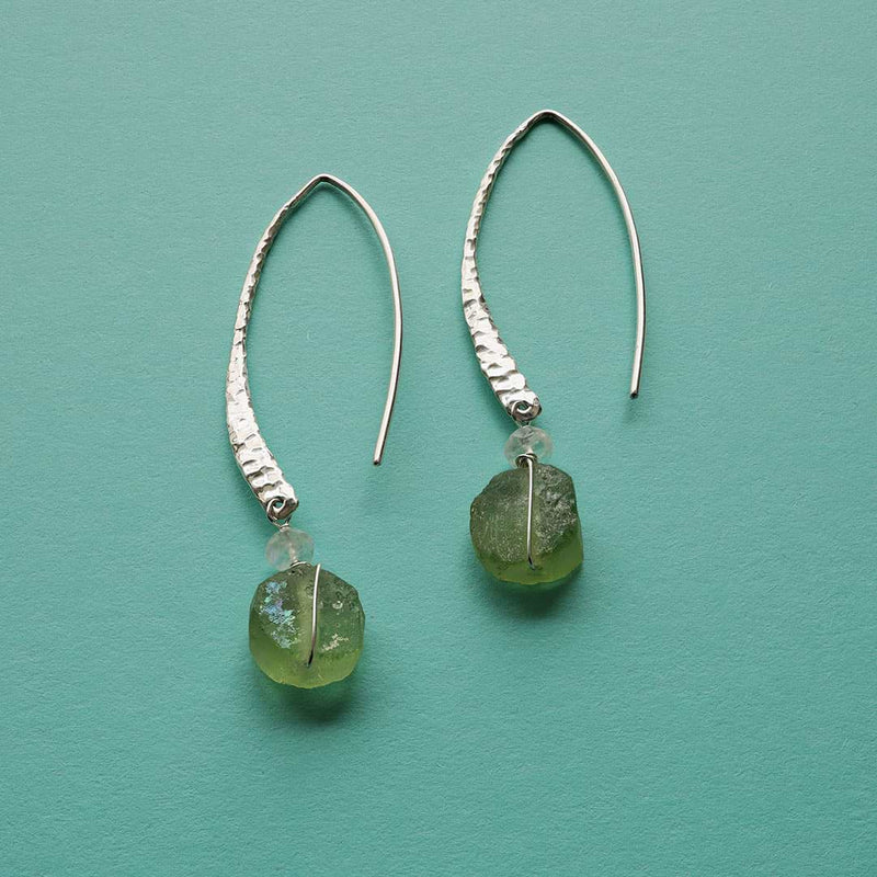 Salt and Sea - Distressed Roman Glass Earrings - alternative Image | BreatheAutumnRain