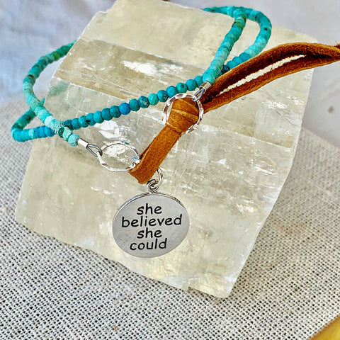 She Believed She Could - Turquoise Bead Double Wrap Empowerment Charm Bracelet