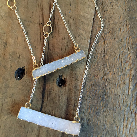 Morning Frost - Calcite Druzy Necklace