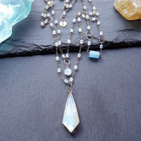 Snow Drift - Moonstone Double-Strand Gold Necklace