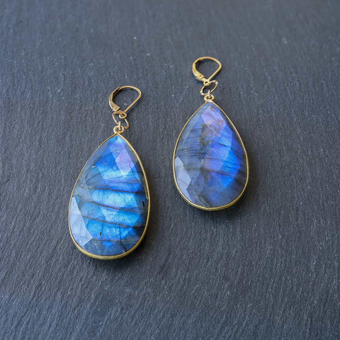 Lanai - Lotus Chalcedony and Moonstone Briolette Chandelier Earrings