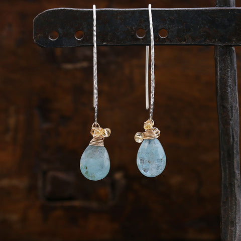 Spontaneously Blue - Organic Aquamarine Sterling Silver Long Hook Earrings