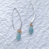 Spontaneously Blue - Organic Aquamarine Sterling Silver Drop Earrings - alternate image | BreatheAutumnRain