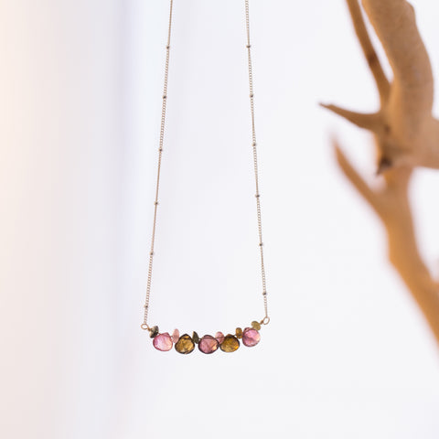Summer Harvest - Multi Tourmaline Bar Necklace