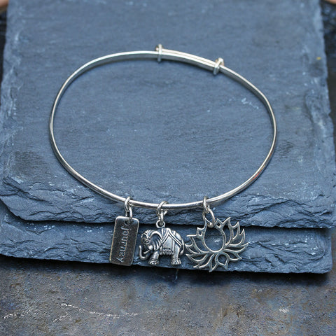 Thoughtful Journey to Bloom - Elephant and Lotus Sterling Silver Charm Bracelet