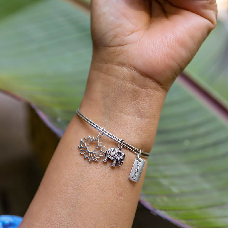 Thoughtful Journey to Bloom - Silver Elephant Lotus Charm Bracelet life style image | Breathe Autumn Rain Artisan Jewelry
