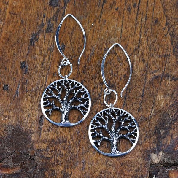 Tree of Life Sterling Silver Earrings - Large - BreatheAutumnRain