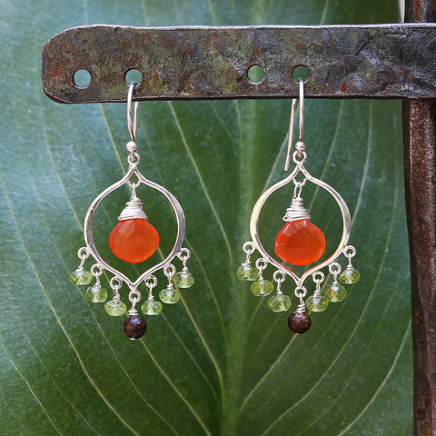 Tropical Sunset - Carnelian Peridot Sterling Silver Chandelier Earrings