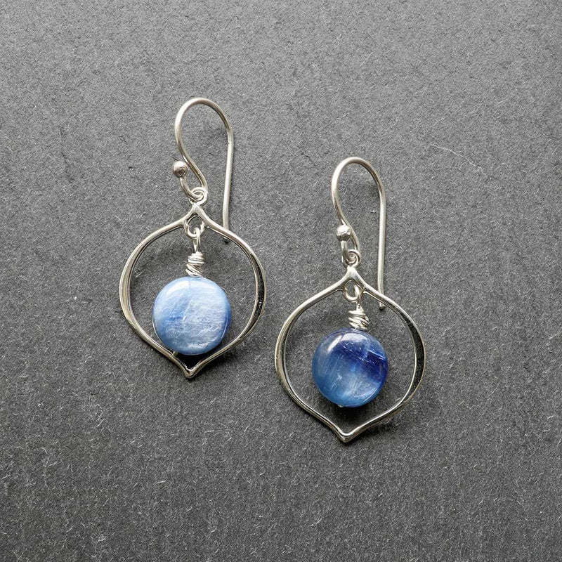 True Blue - Blue Kyanite Hoop Earrings - main image | BreatheAutumnRain