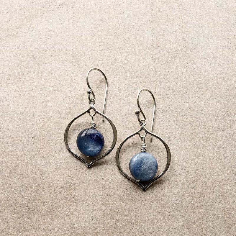 True Blue - Blue Kyanite Hoop Earrings - alternate image | BreatheAutumnRain