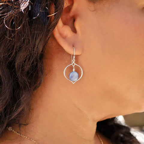 True Blue - Blue Kyanite Hoop Earrings