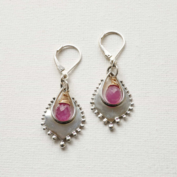 Venice - Pink Sapphire Silver Earrings alt image | Breathe Autumn Rain Artisan Jewelry
