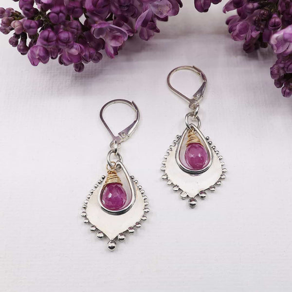 Venice - Pink Sapphire Silver Earrings main image | Breathe Autumn Rain Artisan Jewelry