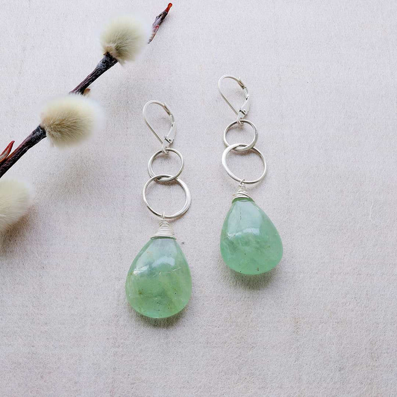 Verte - Smooth Natural Aquamarine Sterling Silver Drop Earrings - alternate image | BreatheAutumnRain