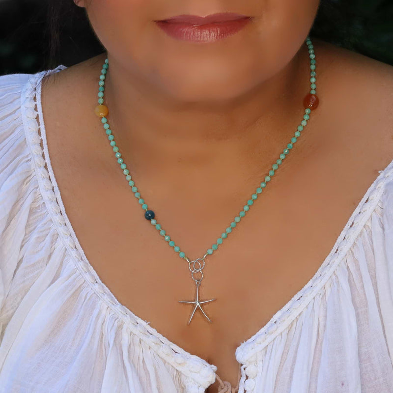 Adrift - Amazonite Silver Starfish Charm Necklace life style image | Breathe Autumn Rain Artisan Jewelry