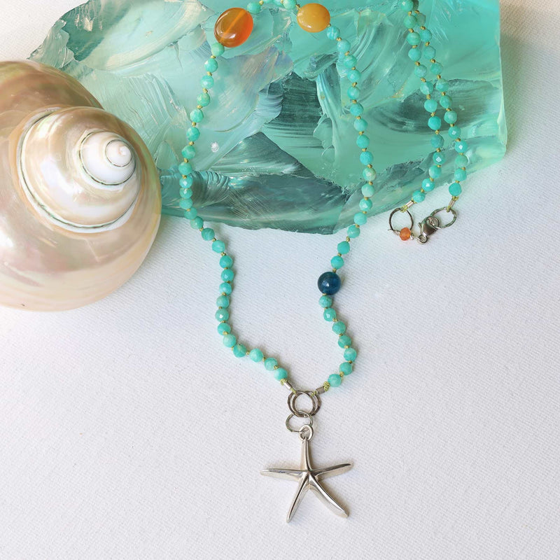 Adrift - Amazonite Silver Starfish Charm Necklace main image | Breathe Autumn Rain Artisan Jewelry